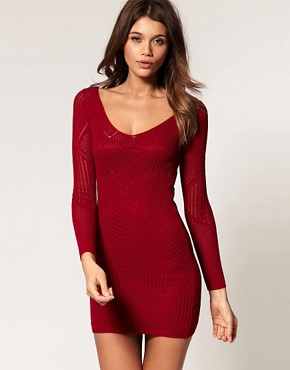 Image 1 of ASOS Knitted Bodycon Dress With Stitched Lace Detail