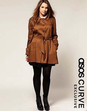 Image 1 of ASOS CURVE Exclusive Belted Full Skirt Trench
