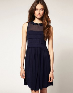 Image 1 of ASOS Sleeveless Peter Pan Collar Dress with Chiffon Panel