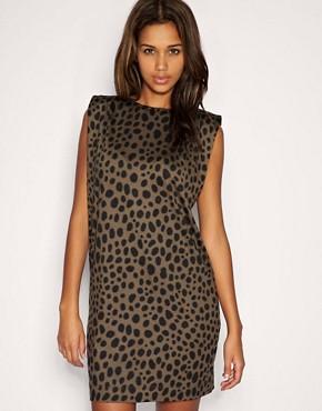 Image 1 ofASOS Animal Print Shoulder Pad Shift Dress