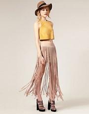 ASOS Fringed Jersey Maxi Skirt