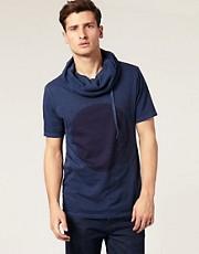 ASOS - T-shirt col bénitier à cordon de serrage et imprimé cercle
