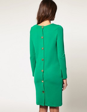 Image 2 of ASOS Button Back Dress With Long Sleeves