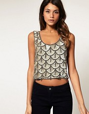 ASOS Scalloped Embellished Crop Top