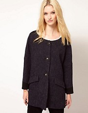 BA&SH Ovoid Shape Coat with Contrast Inserts at Shoulders