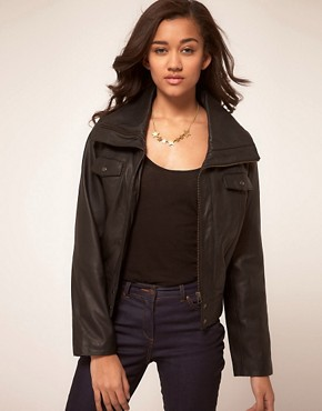 Image 1 of Kookai Leather Funnel Neck Jacket
