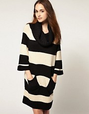 Warehouse Oversized Striped Roll Neck
