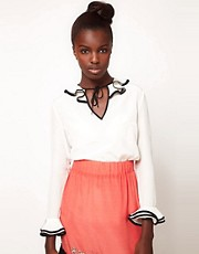 Lulu and Co Studio Ruffle Collar Blouse