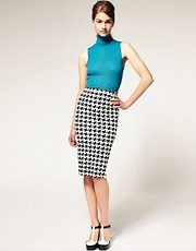 ASOS Pencil Skirt in Dogtooth Print
