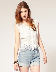 ASOS Cropped Lace Trim Top
