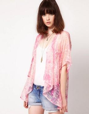 Image 1 of Band of Gypsies Lace Kimono Jacket in Tie Dye