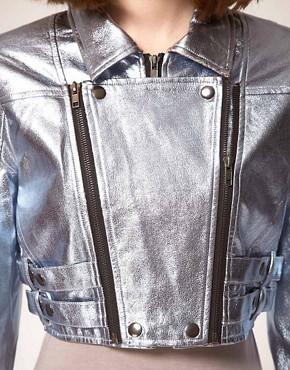 Image 3 ofstylestalker Heavy Metallic Jacket