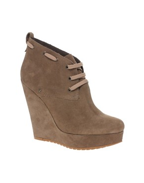 Image 1 ofRiver Island Grade Crepe Wedge Ankle Boots
