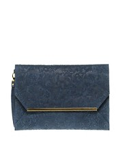ASOS Leather Embossed Metal Bar Clutch