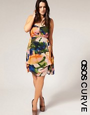 ASOS CURVE Rainbow Bandeau Hitch Dress