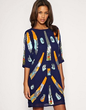Image 1 of ASOS Mixed Embellished Tunic Dress