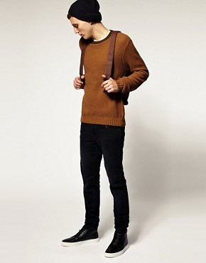 Image 4 of ASOS Textured Knit Elbow Patch Crew Neck Jumper