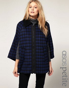 Image 1 of ASOS PETITE Exclusive Check Cape