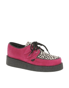 Image 1 of Underground Wulfrun Cindy Pink Creepers With Leopard