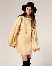 Winter Kate Devi Dress in Silk Jacquard with Blouson Sleeves