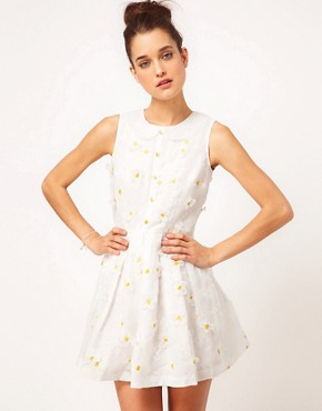 Image 1 of Nishe Embroidered Daisy Prom Dress