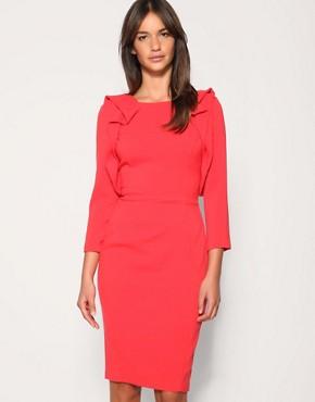 Image 1 ofASOS Tailored Ruffle Front Pencil Dress