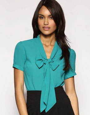 Image 1 of ASOS Pussybow Short Sleeve Blouse