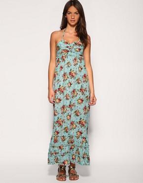 Image 1 ofRare Pom Pom Trim Floral Maxi Dress