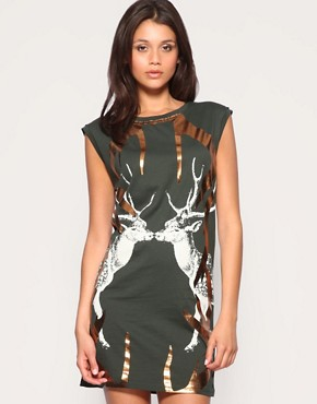 Image 1 ofASOS Foil Antler Jersey Dress