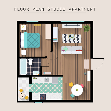 Detailed Apartment Furniture Overhead Top View Studio With One Bedroom Flat Style Vector