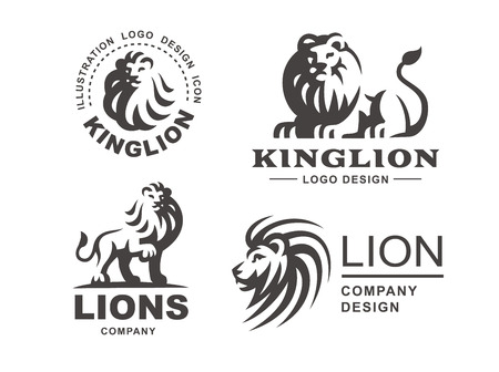 Lion Logo Set Vector Illustration Emblem Design On White Background Royalty Free Vector Graphics