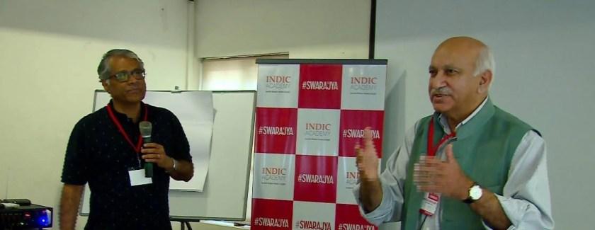 MJ Akbar with R Jagannathan at the workshop