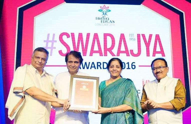 T C A Srinivasa-Raghavan, with Prabhu, Sitharaman and Goa Chief Minister Laxmikant Parsekar