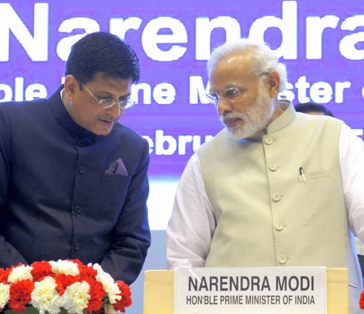 Prime Minister Narendra Modi with Minister of Railways, Piyush Goyal. (Virendra Singh Gosain/Hindustan Times via GettyImages)