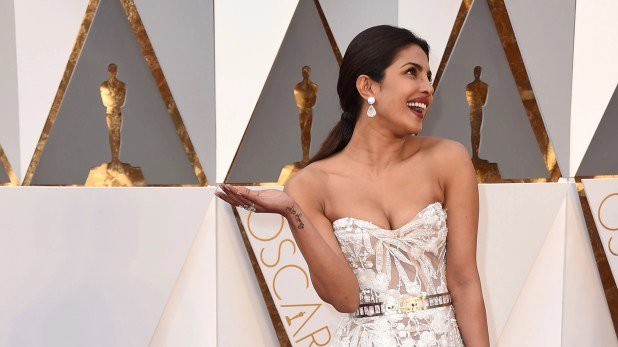 Priyanka Chopra arrives at the Oscars on Sunday, 28 February 2016, at the Dolby Theatre in Los Angeles.