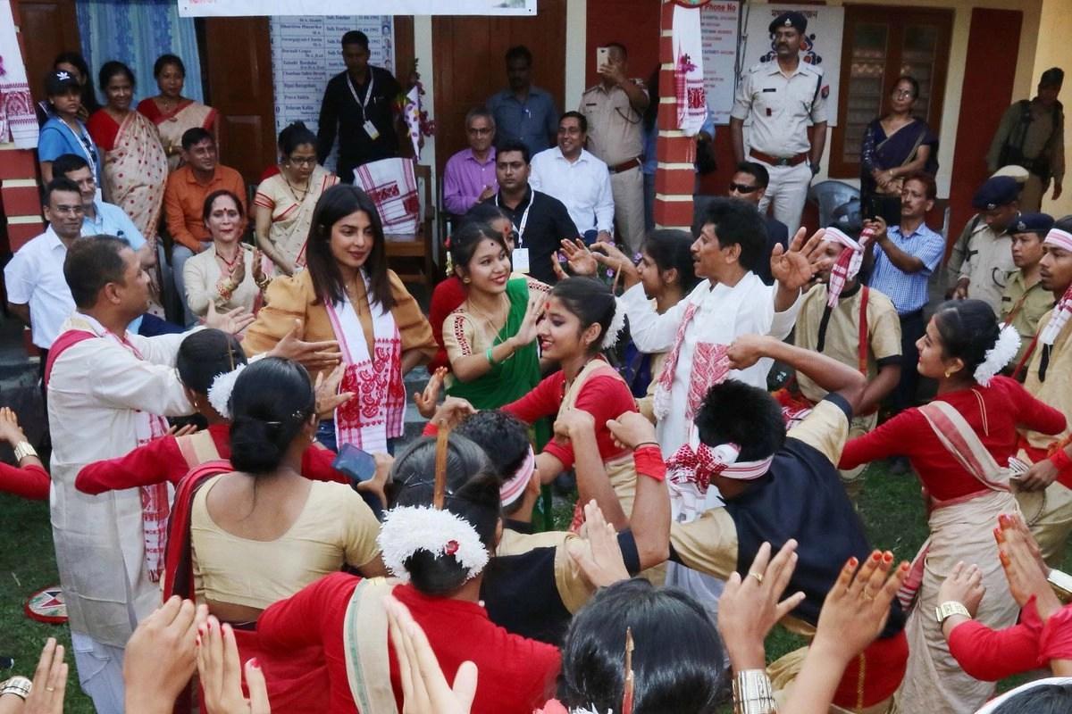 Priyanka joins the girls for Bihu.