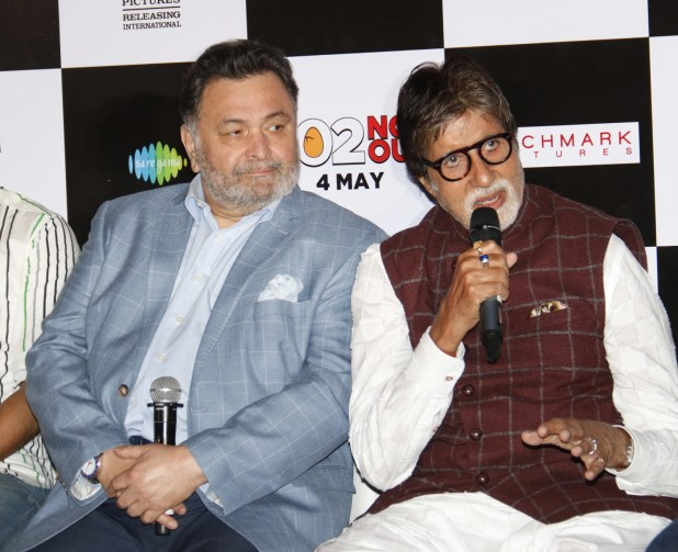 Big B addresses the media at the song launch as Rishi Kapoor looks on.