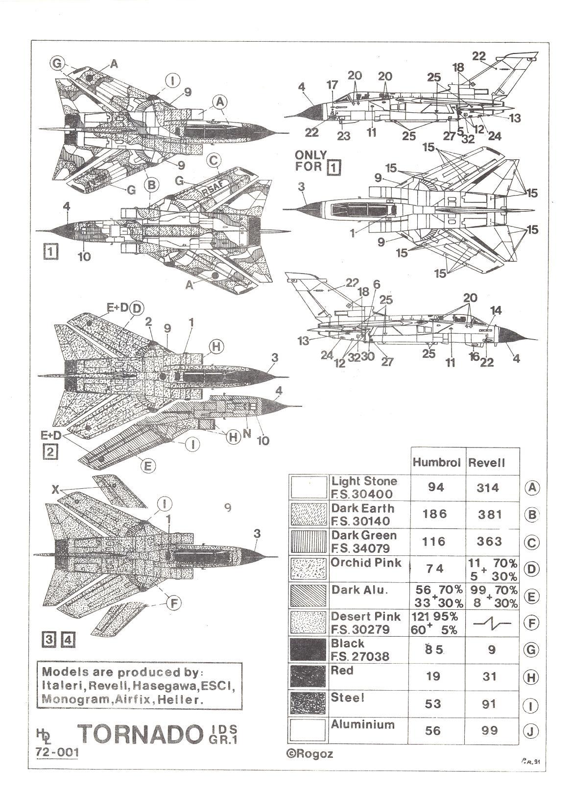 Hi Decals 1 72 Panavia Tornado Gr 1 Ids British Jet