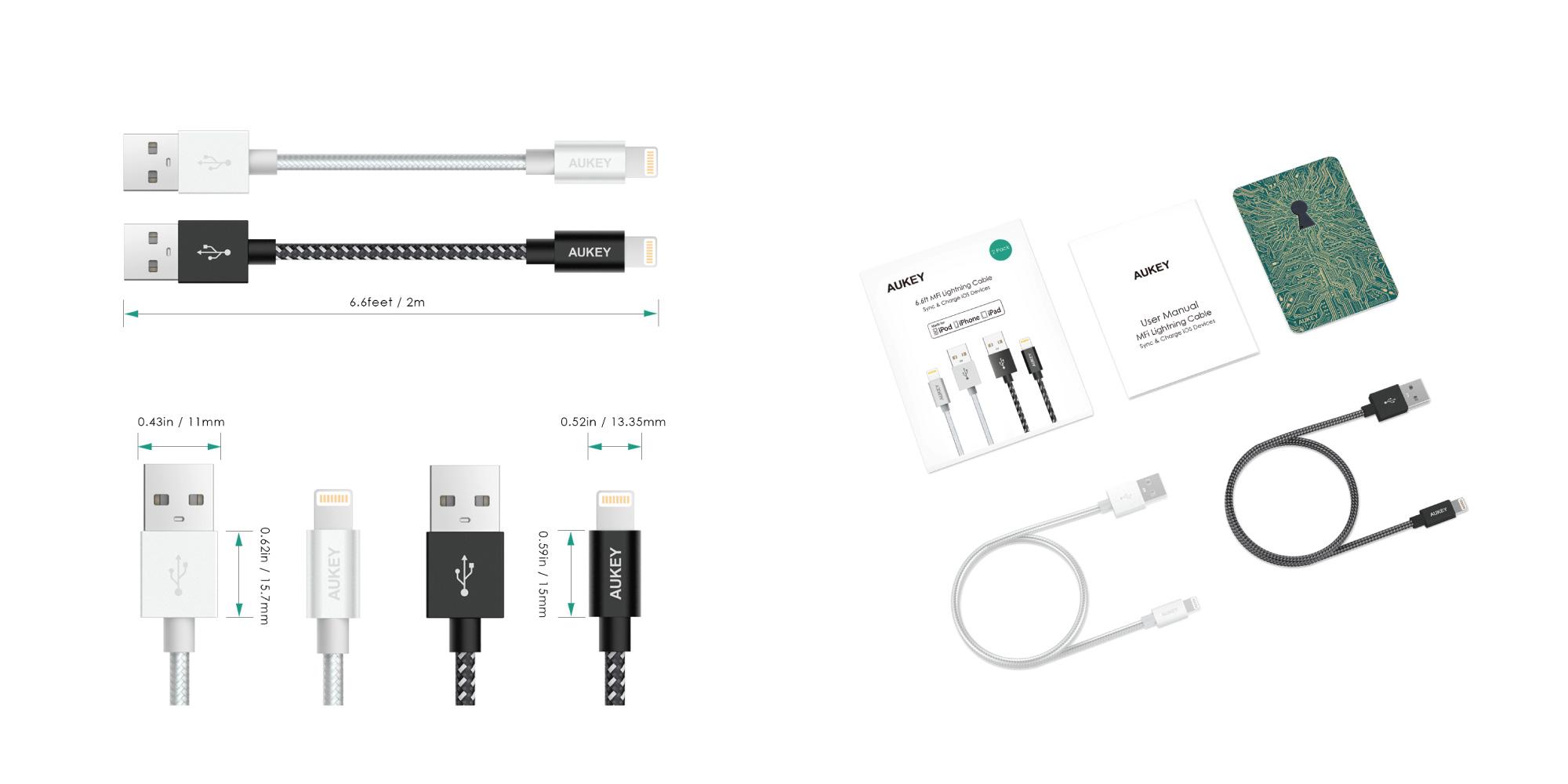 Mfi Lightning Cables 6 6ft 2 Pack