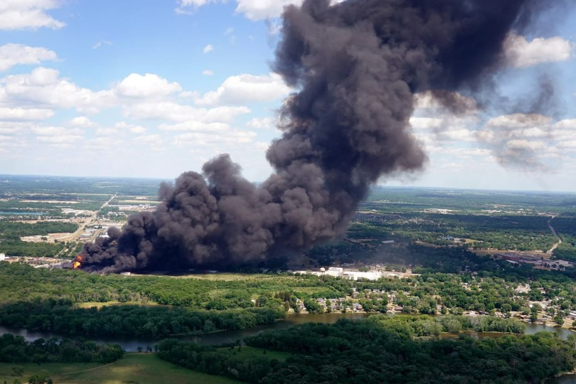 A view of the Chemtool fire in Illinois