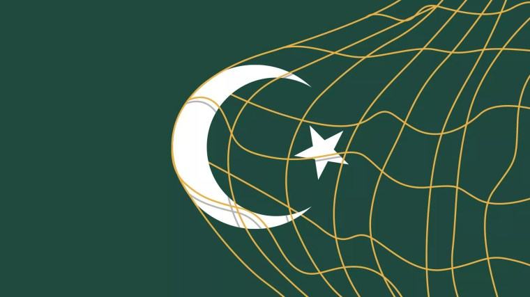 Illustration of an Islamic crescent and star being caught in a soccer goal net.