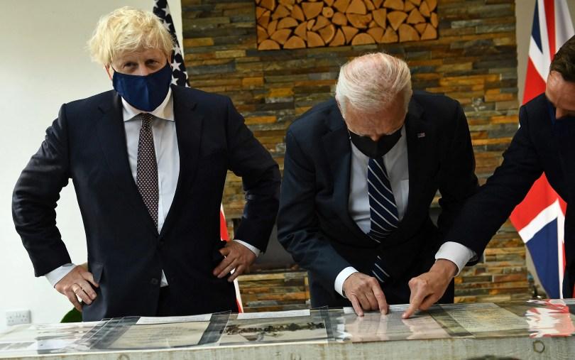 Johnson and Biden looking at the Atlantic Charter