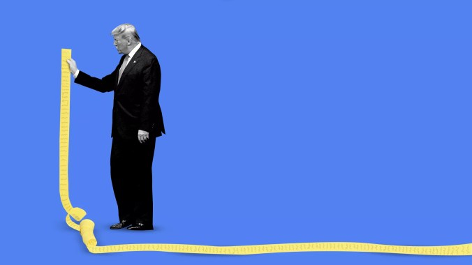 Illustration of President Trump holding an extremely long list.