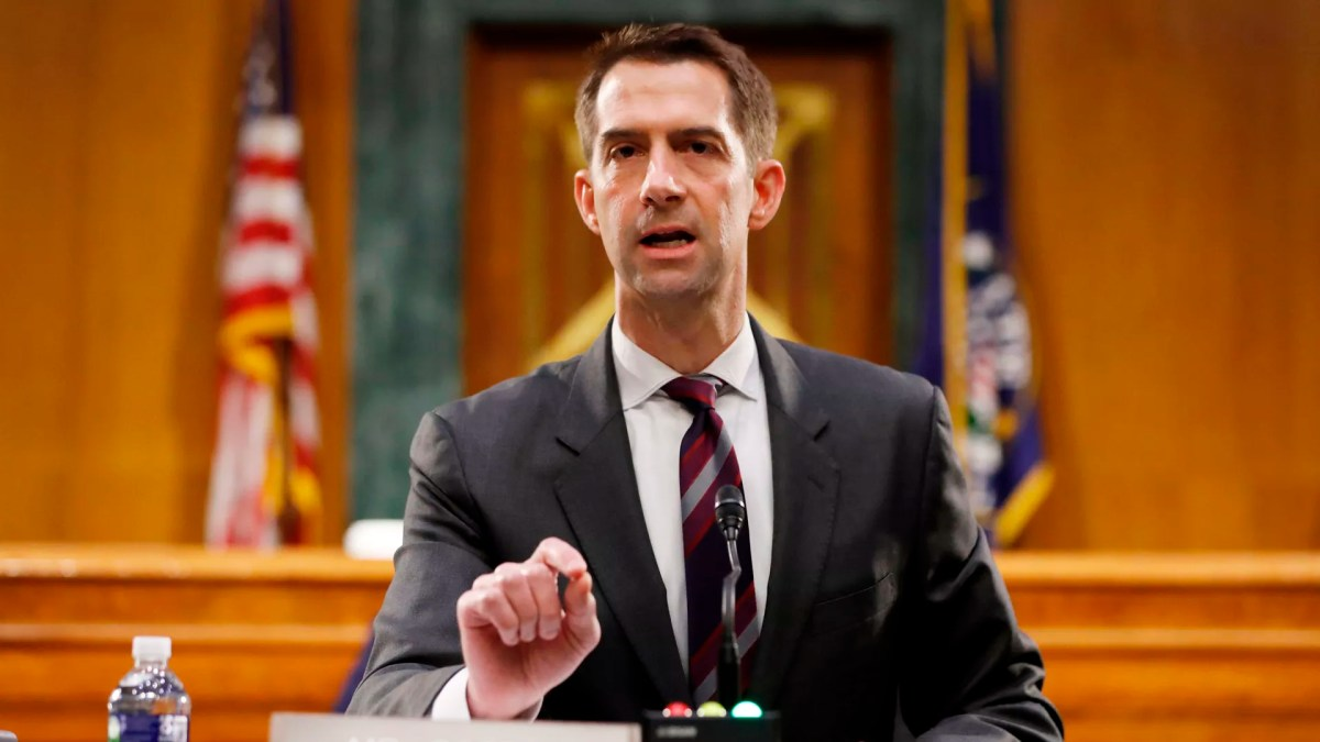 Sen. Tom Cotton, R-AR speaks during a Senate Intelligence Committee nomination hearing for Rep. John Ratcliffe, R-TX, on Capitol Hill in Washington,DC