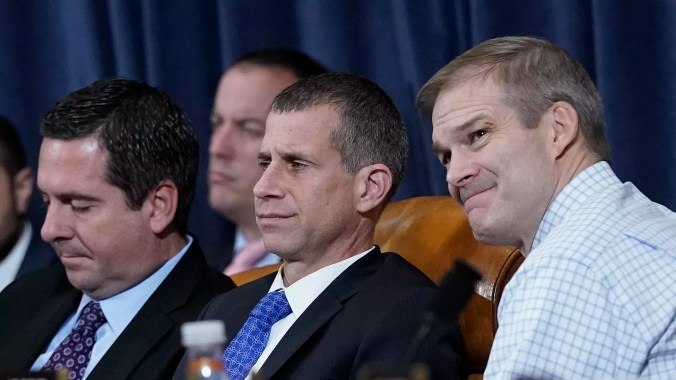 House Republican Reps. Devin Nunes and Jim Jordan and lawyer Steve Castor listed during an impeachment hearing last month.