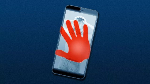 Illustration of a cell phone with an image of a woman on the screen and a red handprint over it