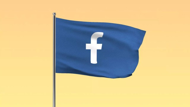 "Illustration of a blue flag with the Facebook ""f"" logo on it"