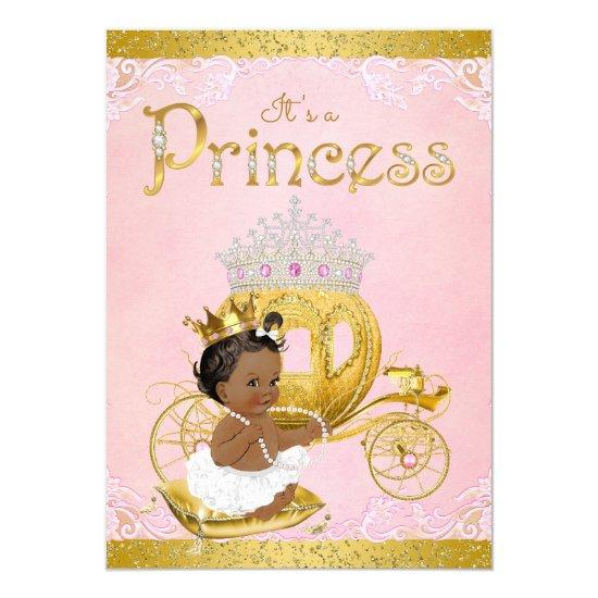 African American Pink Gold Princess Baby Shower Card