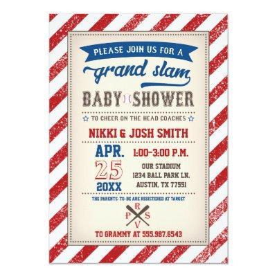 Baseball Baby Shower Invitation Vintage Red Blue