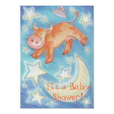 Cartoon Cow Baby Shower Invitations